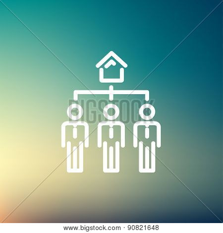 Three real estate agent in one house icon thin line for web and mobile, modern minimalistic flat design. Vector white icon on gradient mesh background.
