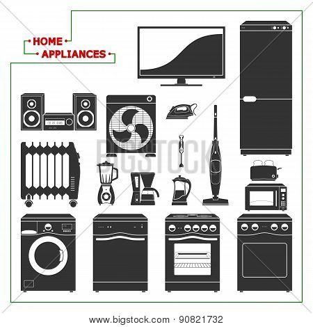 Scaled Monochromatic Home Appliances Vector. Modern Style.