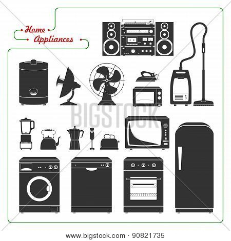 Scaled Monochromatic Home Appliances Vector. Retro Style.