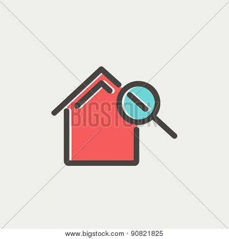 House and magnifying glass icon thin line for web and mobile, modern minimalistic flat design. Vector icon with dark grey outline and offset colour on light grey background.