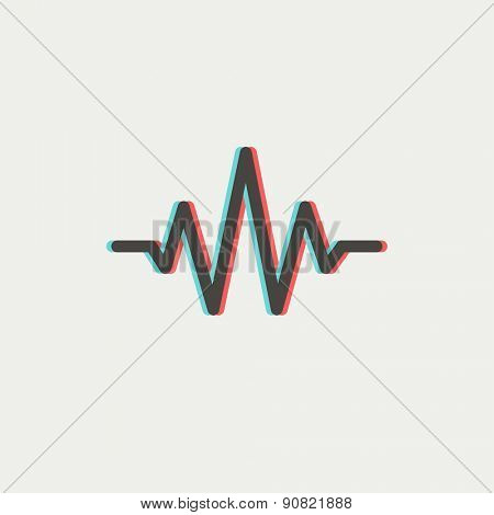 Sound wave beats icon thin line for web and mobile, modern minimalistic flat design. Vector icon with dark grey outline and offset colour on light grey background.