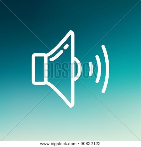 Loudspeaker icon thin line for web and mobile, modern minimalistic flat design. Vector white icon on gradient mesh background.