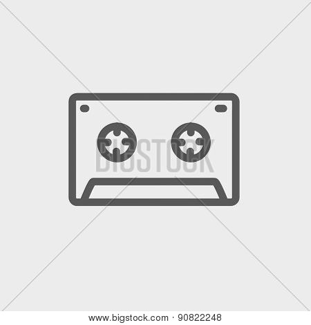 Cassette tape icon thin line for web and mobile, modern minimalistic flat design. Vector dark grey icon on light grey background.
