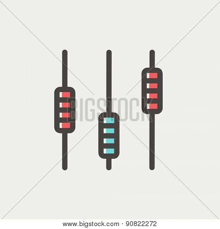 Sliders or faders control board icon thin line for web and mobile, modern minimalistic flat design. Vector icon with dark grey outline and offset colour on light grey background.