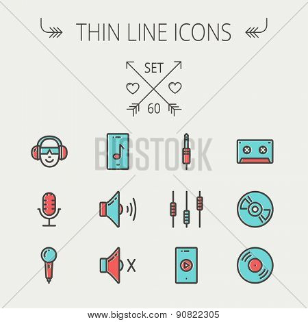 Music and entertainment thin line icon set for web and mobile. Set include-loudspeaker, headphone, microphone retro, cassette tape, control volume, vinyl disc  icons. Modern minimalistic flat design