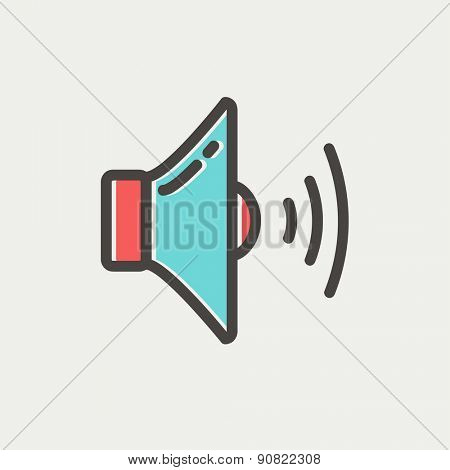 Loudspeaker icon thin line for web and mobile, modern minimalistic flat design. Vector icon with dark grey outline and offset colour on light grey background.