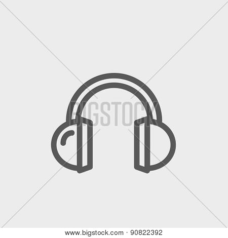 Headphone icon thin line for web and mobile, modern minimalistic flat design. Vector dark grey icon on light grey background.