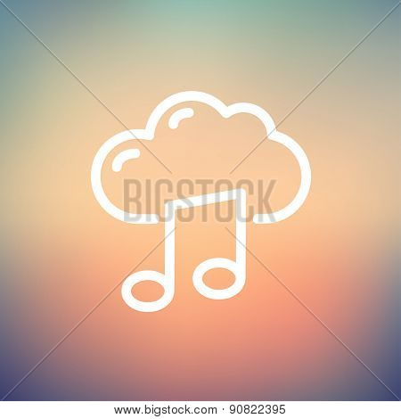 Cloud melody icon thin line for web and mobile, modern minimalistic flat design. Vector white icon on gradient mesh background.