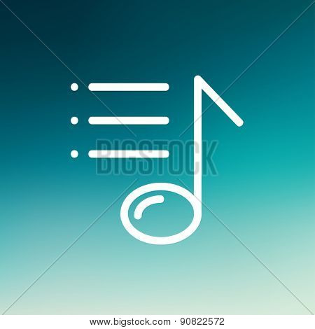 Musical note with bar line icon thin line for web and mobile, modern minimalistic flat design. Vector white icon on gradient mesh background.