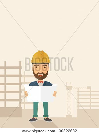 A young hipster engineer holding while reviewing the construction plan. A Contemporary style with pastel palette, soft beige tinted background. Vector flat design illustration. Vertical layout with