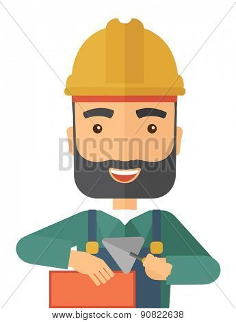 A happy construction mason worker with trowel in hand wearing hard hat. A Contemporary style. Vector flat design illustration isolated white background. Vertical layout.