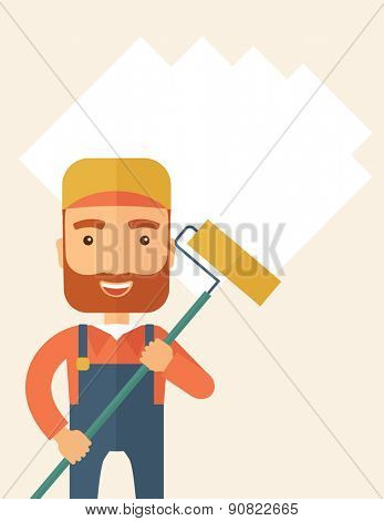 A young Caucasian glass cleaner wearing hat holding stick rubber scraper. A Contemporary style with pastel palette, soft beige tinted background. Vector flat design illustration. Vertical layout with