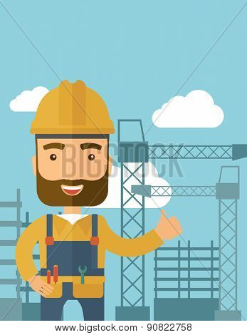 A construction worker standing with crane tower background. A Contemporary style with pastel palette, soft blue tinted background with desaturated clouds. Vector flat design illustration. Vertical
