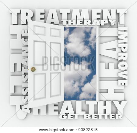 Treatment, Therapy and related words around an open door to a clear blue sky to illustrate medical help, assistance and improvement to heal or cure your pain or discomfort