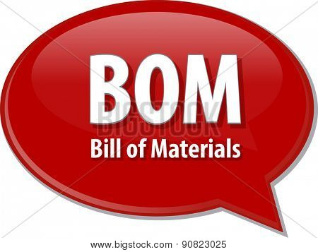 word speech bubble illustration of business acronym term BOM Bill of Materials vector