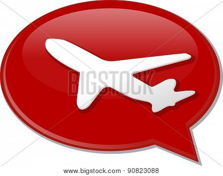 Word speech bubble illustration of discussion forum blog airplane air travel vector