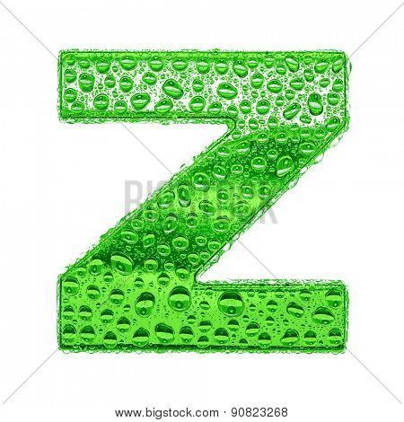 Fresh Green alphabet symbol - letter Z. Water splashes and drops on transparent glass. Isolated on white