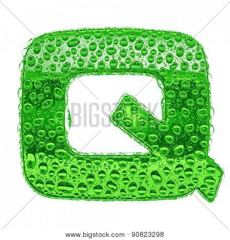 Fresh Green alphabet symbol - letter Q. Water splashes and drops on transparent glass. Isolated on white