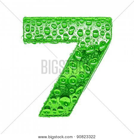 Fresh Green alphabet symbol - digit 7. Water splashes and drops on transparent glass. Isolated on white