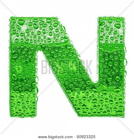 Fresh Green alphabet symbol - letter N. Water splashes and drops on transparent glass. Isolated on white