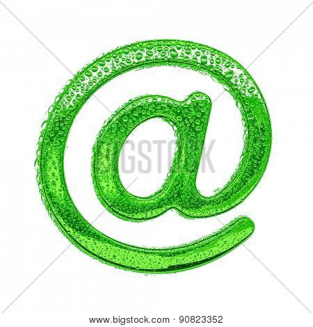 Fresh Green alphabet symbol - email. Water splashes and drops on transparent glass. Isolated on white
