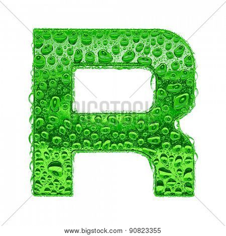 Fresh Green alphabet symbol - letter R. Water splashes and drops on transparent glass. Isolated on white