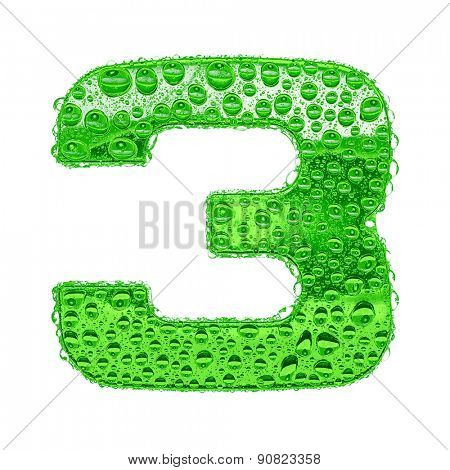 Fresh Green alphabet symbol - digit 3. Water splashes and drops on transparent glass. Isolated on white
