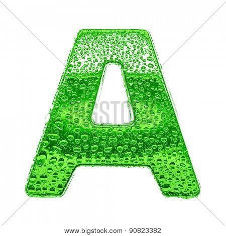 Fresh Green alphabet symbol - letter A. Water splashes and drops on transparent glass. Isolated on white