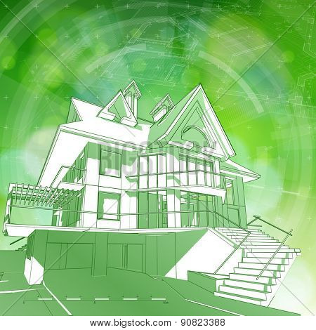 Architecture ecology design: blueprint 3d house, plan, radial HUD elements & green bokeh abstract light background