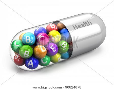 Healthy life concept: vitamins on white background