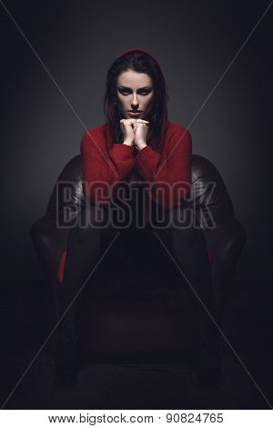 Sexy Woman In Red Sweater At Night