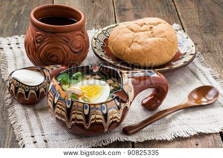 Popular Russian Cold Soup - Okroshka