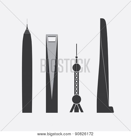 May 17, 2015: Collection of Icons of Four Famous Skyscrapers in Shanghai, China: Jin Mao Tower, Shanghai World Financial Center, Oriental Pearl Tower, Shanghai Tower - For Editorial Use Only