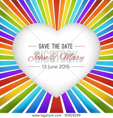 Rainbow heart background with Save the date. Vector illustration