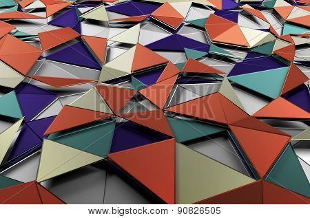 Abstract 3d rendering of low poly colored surface.