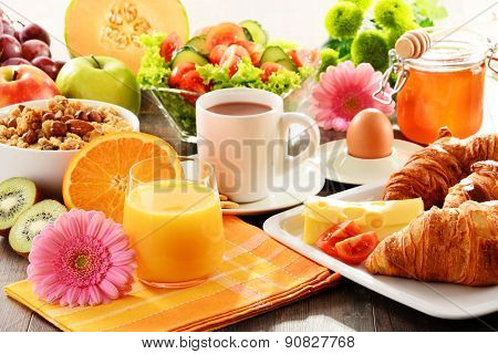 Composition With Breakfast On The Table. Balnced Diet.
