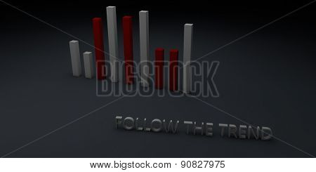 Motivational advice to follow the trend written with 3d capital letters next to vertical bars chart showing a dynamic evolution, with copy space on dark gray