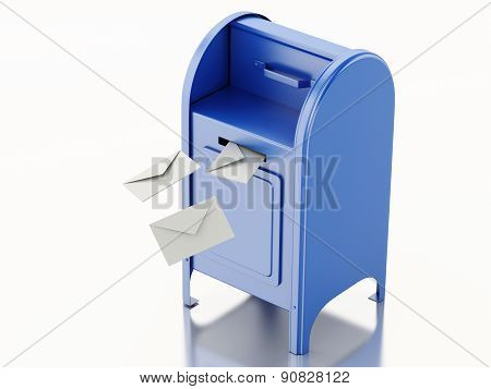 3d mail box with heap of letters.
