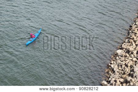 Paddler In Kayak On Mississippi