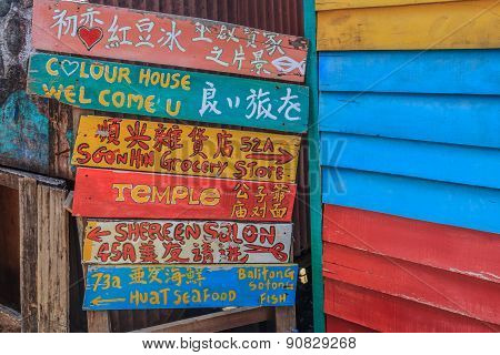 Colorful Sign At Chew Jetty In Georgetown