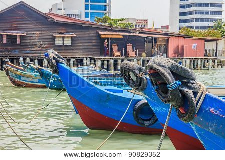 Boats Docked At Chew Jetty