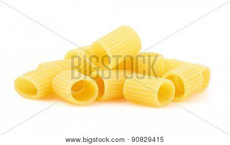 Rigatoni italian pasta isolated on white background