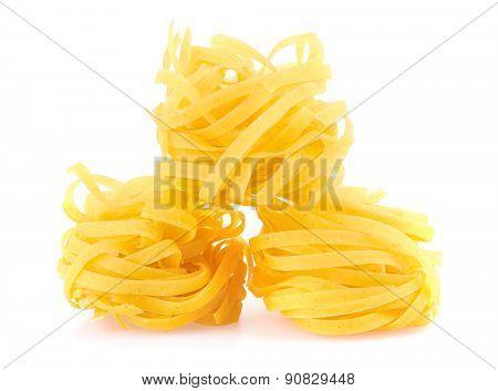 Tagliatelle italian pasta isolated on white backgroundv