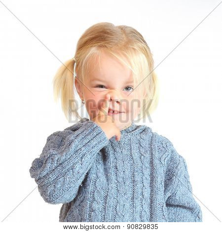 Little girl making grimace. Funny people on white background.