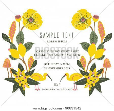 Party invitation card with flourish background