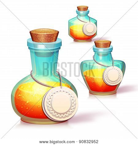 Vector set of three glass flask with potion