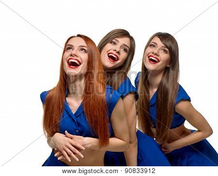 smiling beautiful Triplets women