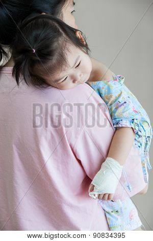 Illness Child In Hospital, Saline Intravenous (iv) On Hand Asian Girl