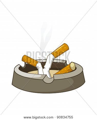 Cigaretes On Ashtray