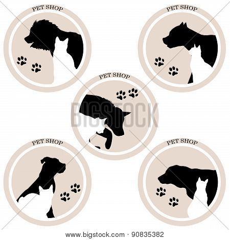 Dog And Cat Pet Shop Icons